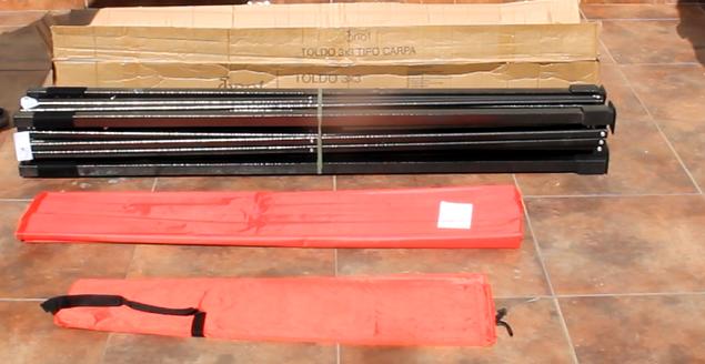 empaque de toldo plegables caja 16 kilos - 3x3 metros