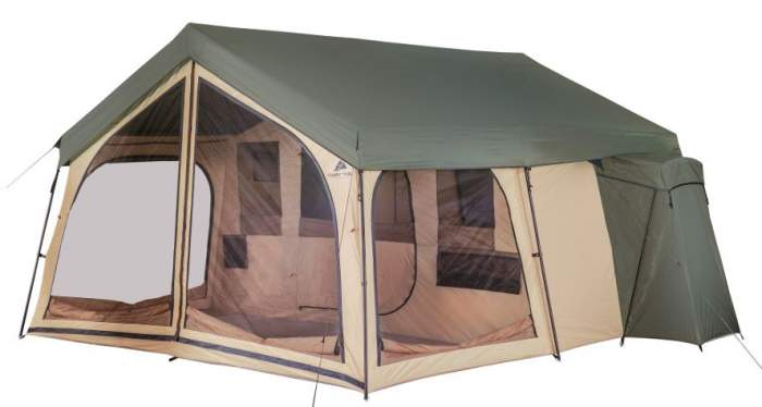 Vista Frontal De La Casa De Campaña De Cabaña Spring Lodge Para 14 Personas De Ozark Trail.