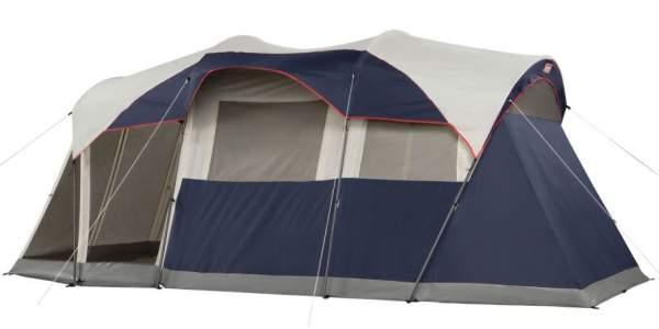 Tienda de campaña Coleman Elite WeatherMaster 17 'x 9' - Tienda de cabina para 6 personas con sistema de luz LED y amp;  Sala de mosquitero.